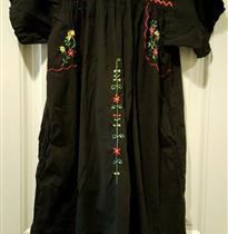 小花条前胸长袍