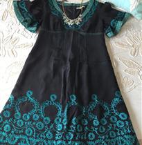 绳绣抽象曲线裙摆衣领