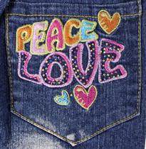裤袋字母刺绣peace love