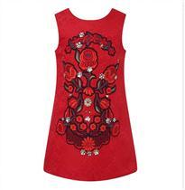 复古花朵刺绣裙